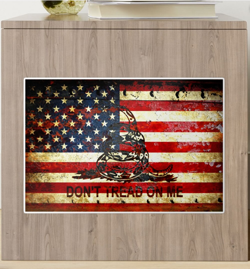 American Flag And Viper On Rusted Metal Door - Don't Tread On Me Sticker