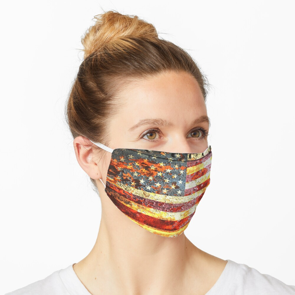 American Flag On Rusted Riveted Metal Door Face Mask