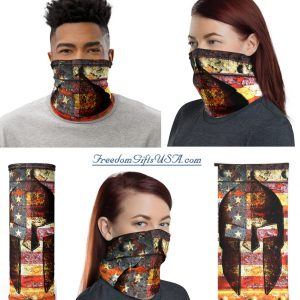 American Flag and Spartan Helmet on Rust - Molon Labe Neck Gaiter