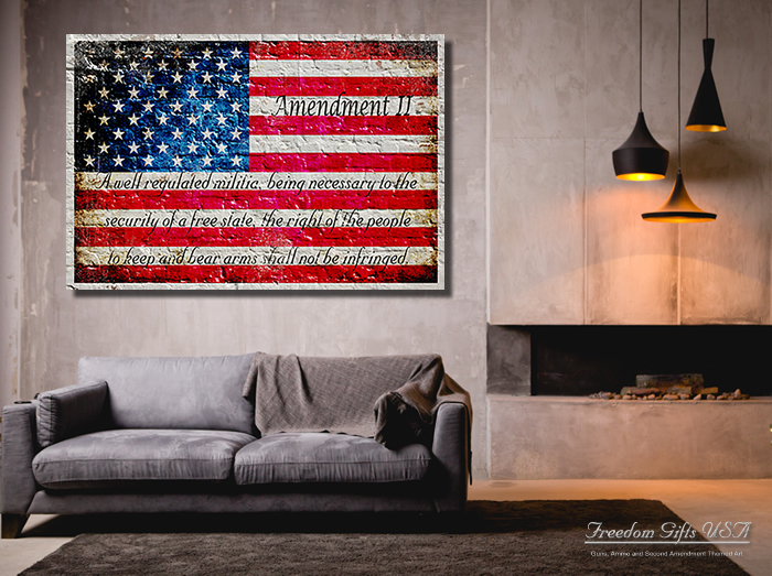 American Flag and 2nd Amendment Print on Canvas