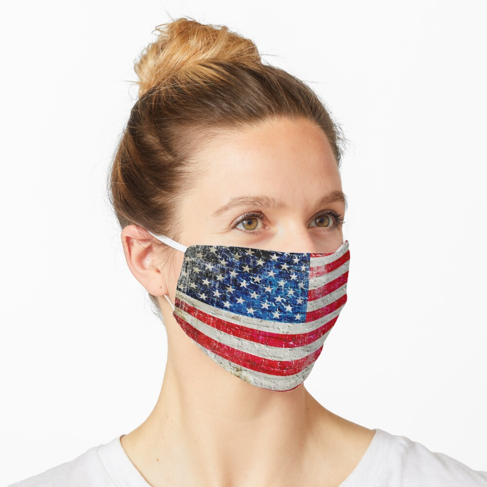 Distressed American Flag On Old Brick Wall Face Mask