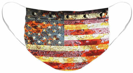 American Flag on rust print face mask