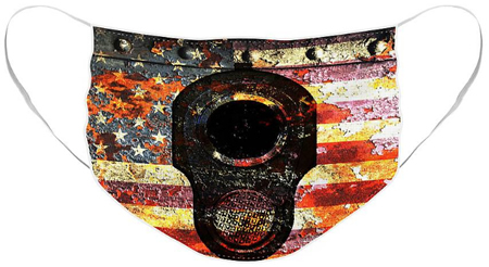 American Flag on rust & M1911 print face mask