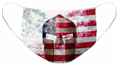 Distressed American Flag & Spartan Helmet Face Mask - Molon Labe