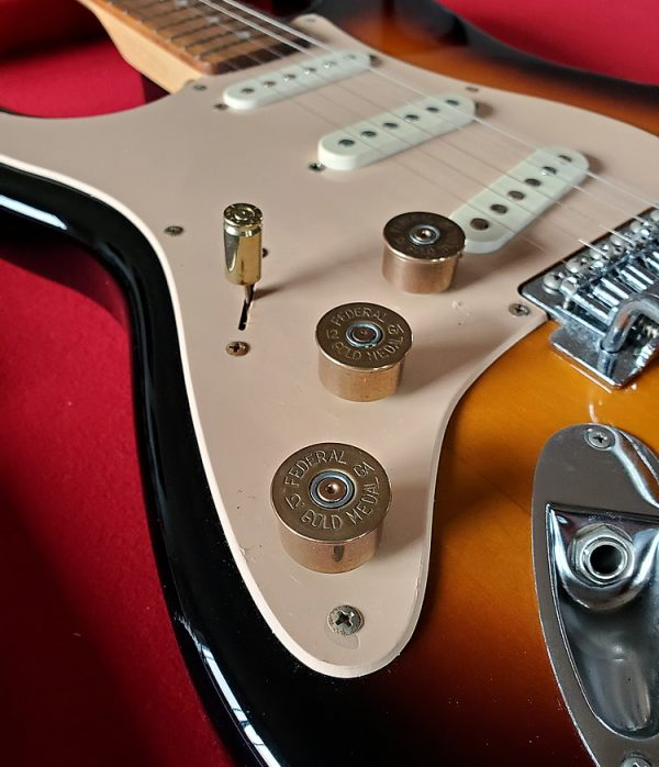 12 Gauge Tone and Volume Guitar Knobs on Tobacco Strat Guitar