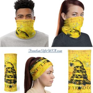 Neck Gaiter Don't Tread on Me – Gadsden Flag on metal yellow with bullet holes