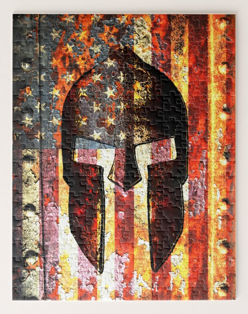 Molon Labe - American Flag and Spartan Helmet Jigsaw Puzzle