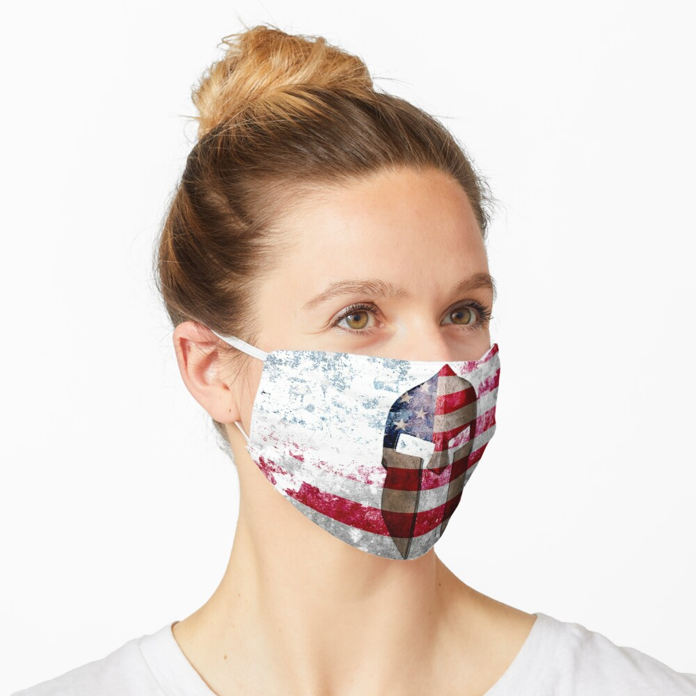 Molon Labe - Spartan Helmet on Distressed American Flag Face Mask