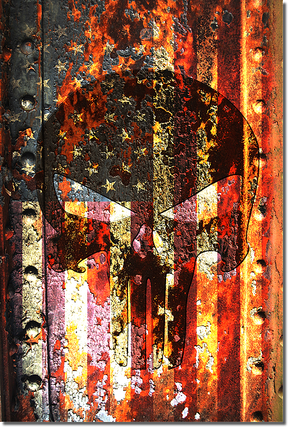 Punsiher Themed Skull on Rusted American Flag Print