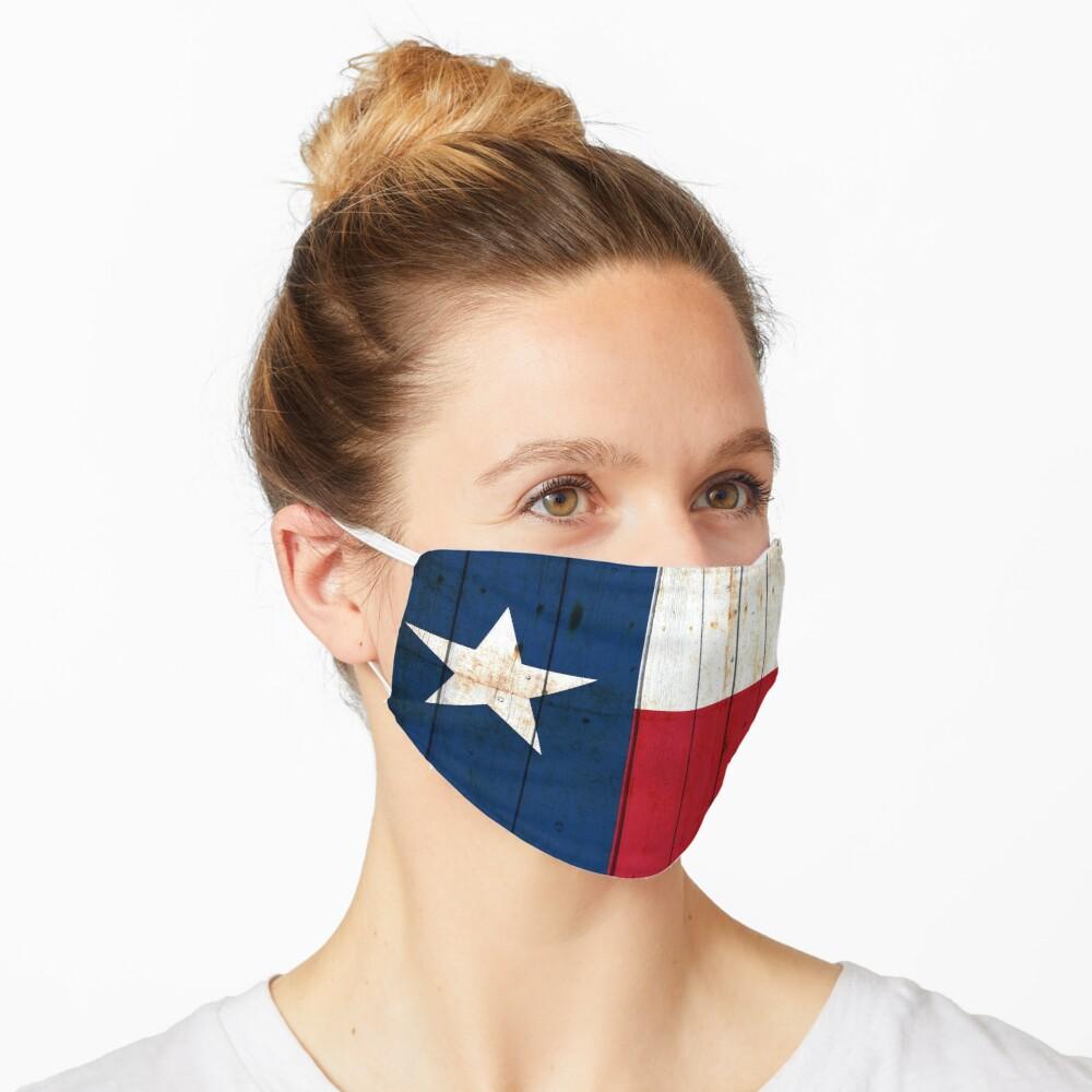 Texas Flag on Old Barn Wood Face Mask