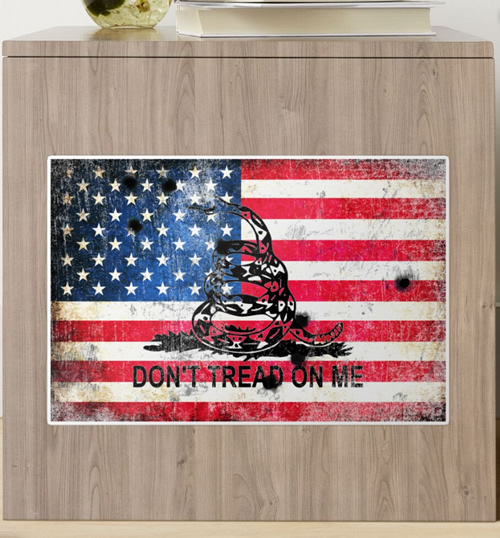 Viper N Bullet Holes On Old Glory Sticker - Don't tread on me