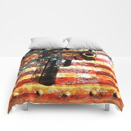 M1911 Colt 45 caliber on American Flag Print Comforters