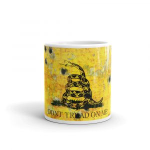 11 oz Mug – Dont Tread on Me – Gadsden Flag on Metal Plate with Bullet holes