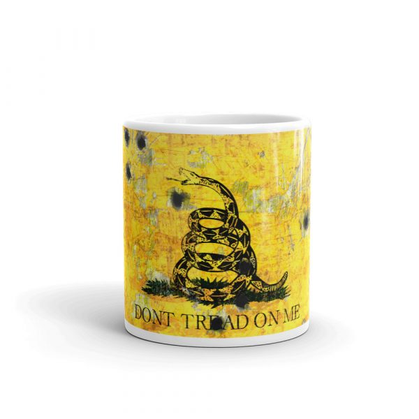 11 oz Mug – Dont Tread on Me – Gadsden Flag on Metal Plate with Bullet holes
