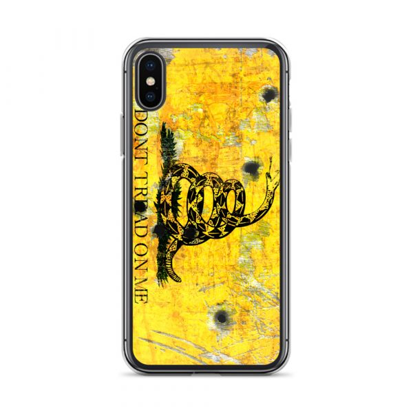 iPhone XS Max Case – Gadsden Flag on metal with bullet holes