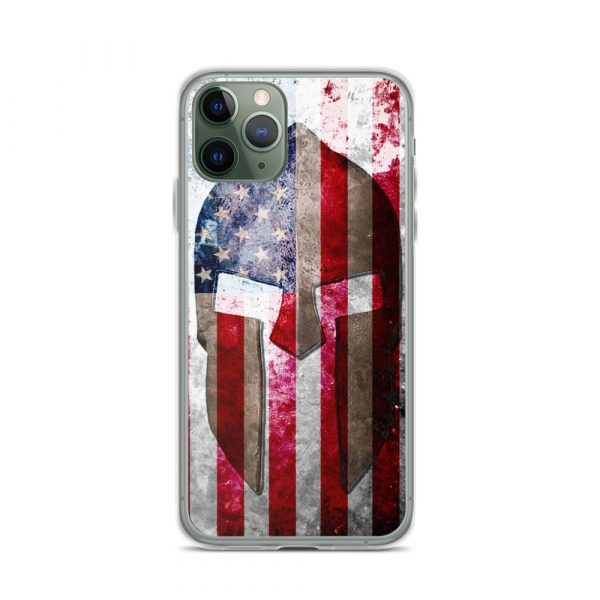 iPhone 11 Pro Case – Molon Labe – Spartan Helmet on Distressed American Flag