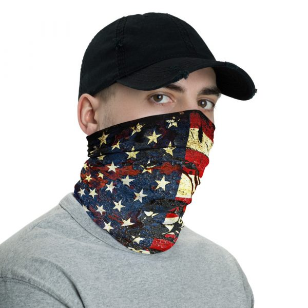 American and Gadsden Flag composition - Don't tread on me neck gaiter right side view