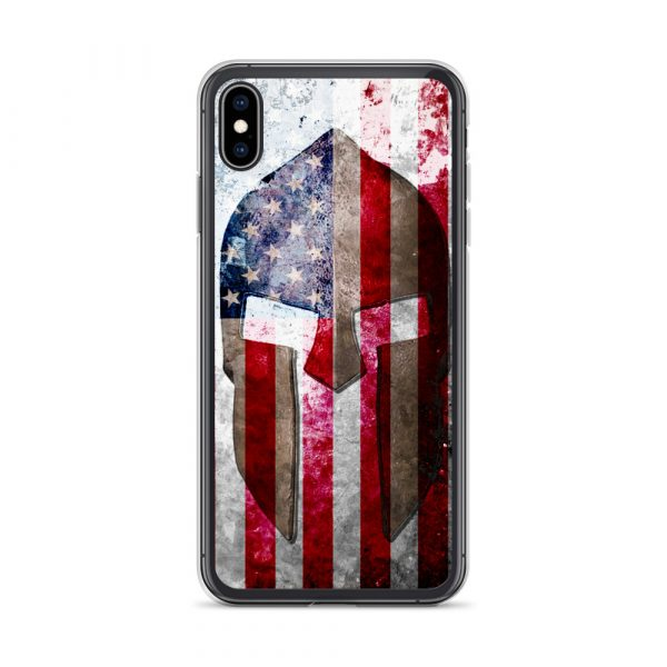 iPhone Xs Case – Molon Labe – Spartan Helmet on Distressed American Flag