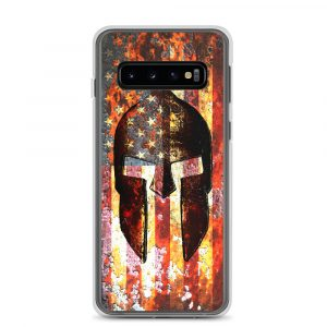 Samsung Galaxy S10 Case – Molon Labe – Spartan Helmet on Rusted American Flag