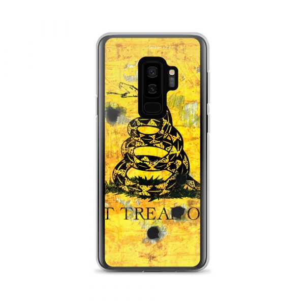 Samsung S9 Plus Case - Gadsden Flag on metal with bullet holes