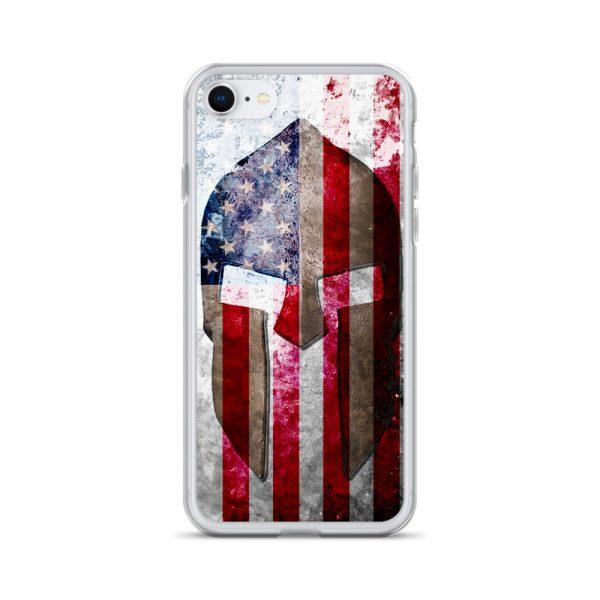 iPhone 7 / 8 Case – Molon Labe – Spartan Helmet on Distressed American Flag