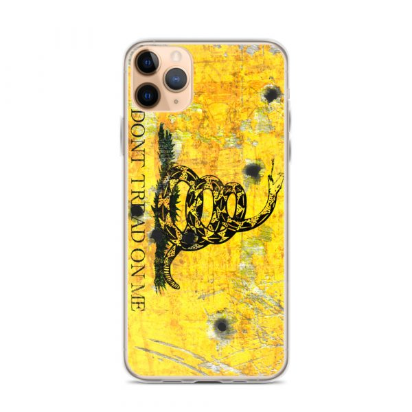 iPhone 11 Pro Max Case – Gadsden Flag on metal with bullet holes