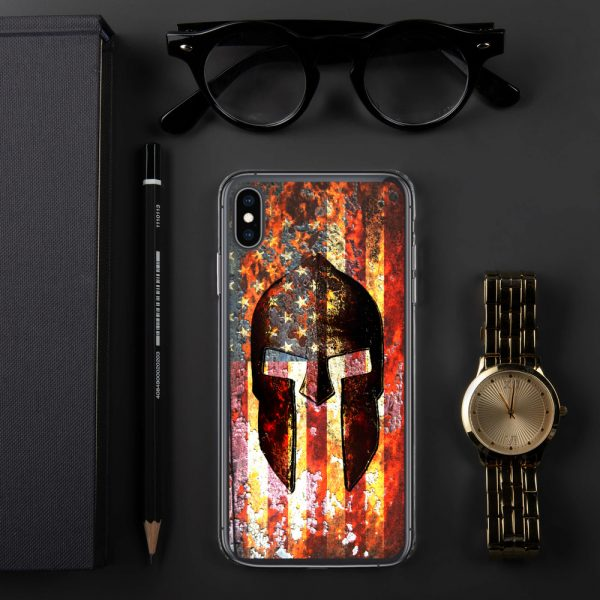 iPhone Case – Molon Labe – Spartan Helmet on Rusted American Flag