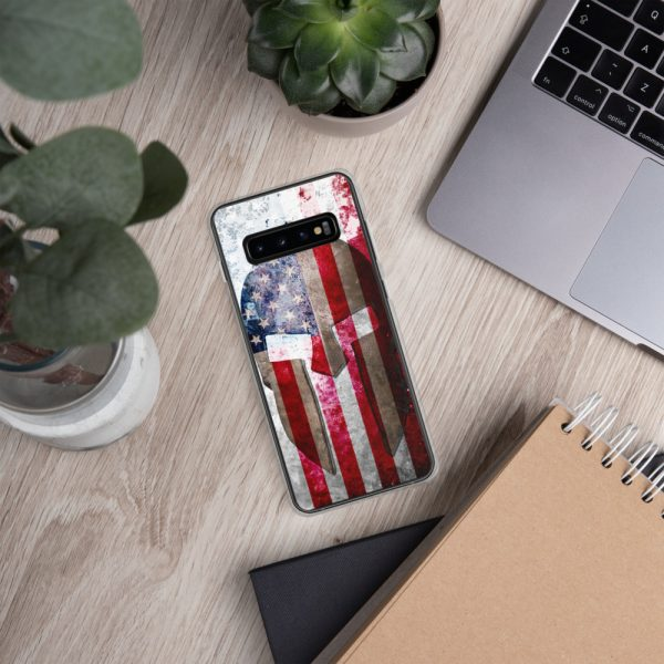 Samsung S10 Case – Molon Labe – Spartan Helmet on Distressed American Flag