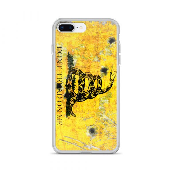 iPhone 7 plus / 8 plus Case – Gadsden Flag on metal with bullet holes