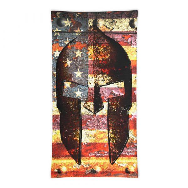 flat view Molon Labe Neck Gaiter - Spartan Helmet on Distressed American Flag neck gaiter