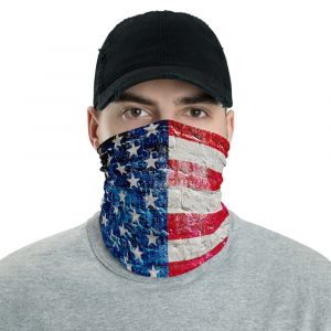 Patriotic Face Mask and Neck Gaiter- American Flag on Brick