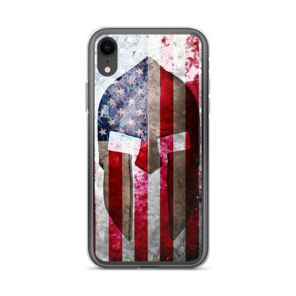 iPhone XR Case – Molon Labe – Spartan Helmet on Distressed American Flag