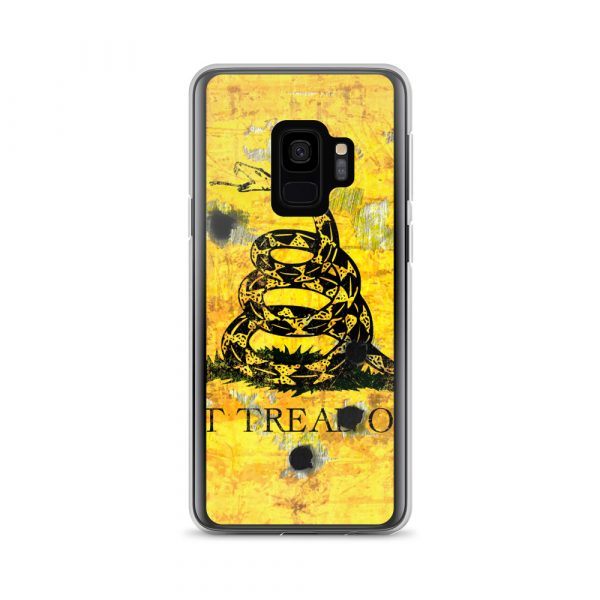 Samsung Galaxy S9 Case - Gadsden Flag on metal with bullet holes