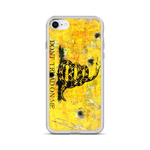 iPhone 7/8 Case – Gadsden Flag on metal with bullet holes