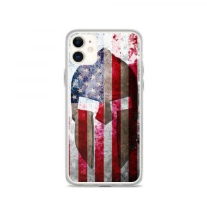 iPhone 11 Case – Molon Labe – Spartan Helmet on Distressed American Flag