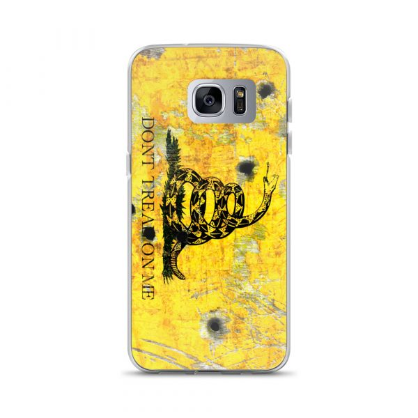 Samsung Galaxy S7 Hedge Case – Gadsden Flag on metal with bullet holes