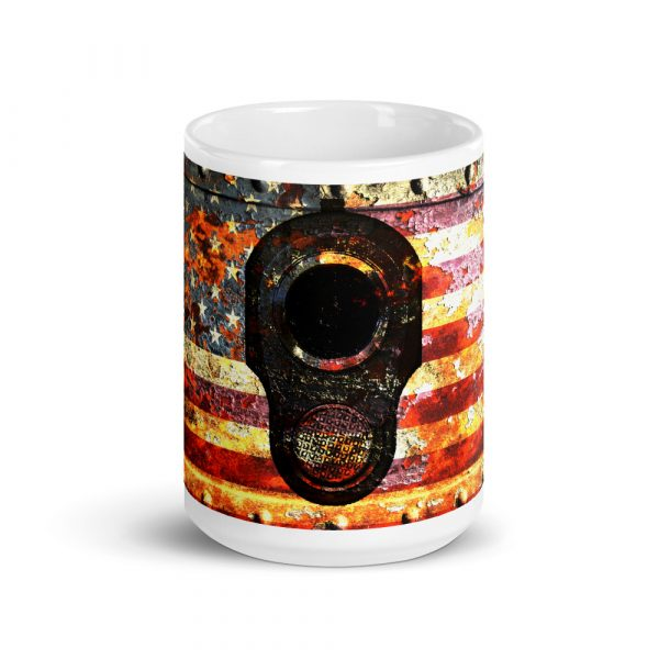 15 OZ Mug - M1911 Muzzle on Rusted American Flag
