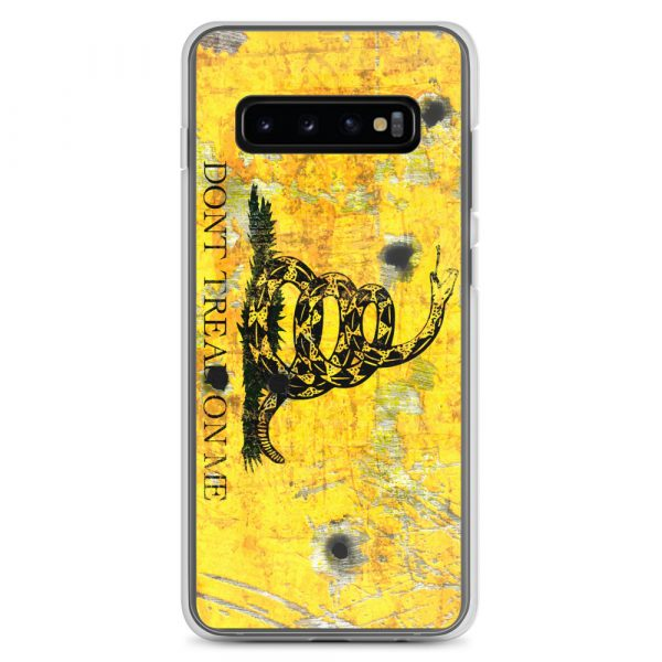 Samsung Galaxy S10+ Case – Gadsden Flag on metal with bullet holes