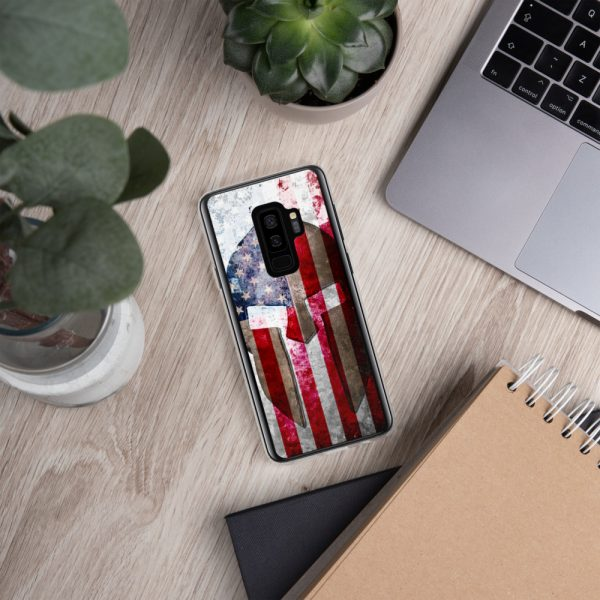 Samsung S9+ Case – Molon Labe – Spartan Helmet on Distressed American Flag