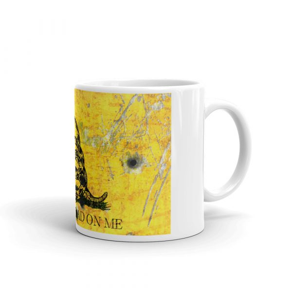right side of 11 oz Mug – Dont Tread on Me – Gadsden Flag on Metal Plate with Bullet holes