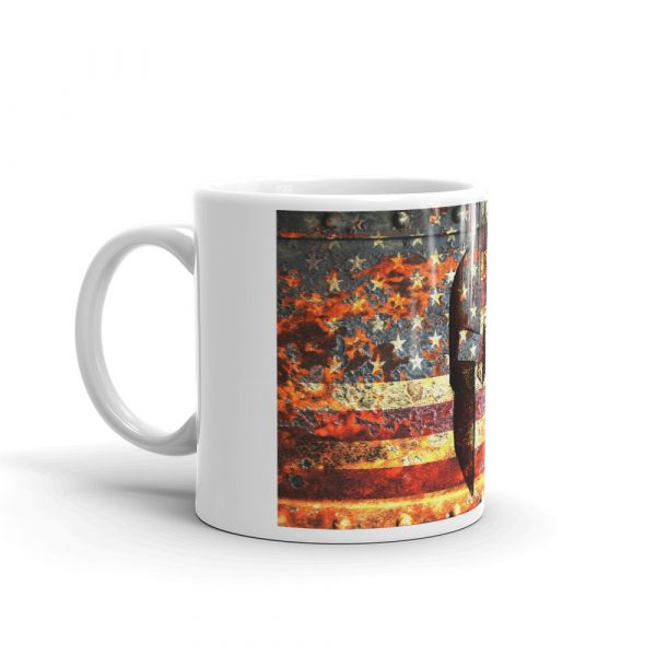 11 oz Mug - American Flag and Spartan Helmet on Rust right view