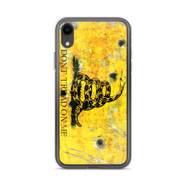 iPhone XRCase – Gadsden Flag on metal with bullet holes