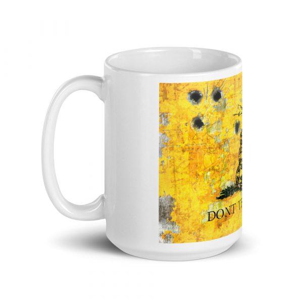 left side 15 oz Mug – Dont Tread on Me – Gadsden Flag on Metal Plate with Bullet holes