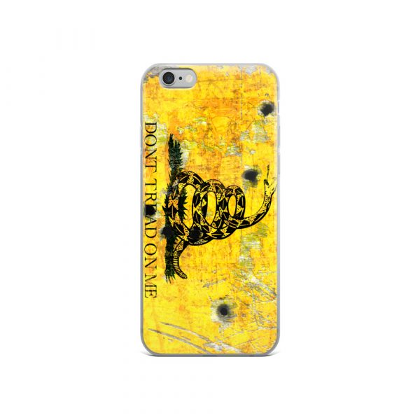 iPhone 6 Case – Gadsden Flag on metal with bullet holes