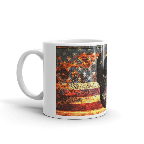 11 OZ Mug - M1911 Muzzle on Rusted American Flag - right view