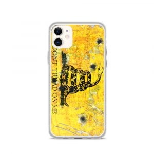 iPhone 11 Case – Gadsden Flag on metal with bullet holes