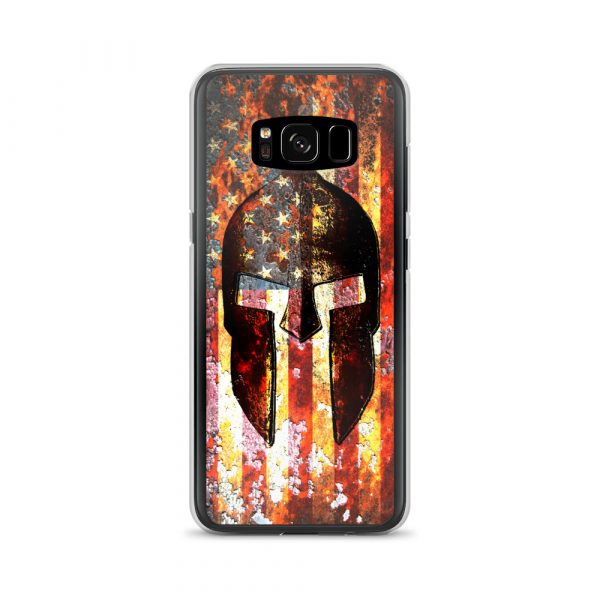 Samsung Galaxy S8 + Case Case – Molon Labe – Spartan Helmet on Rusted American Flag