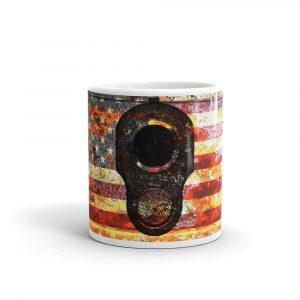 11 OZ Mug - M1911 Muzzle on Rusted American Flag