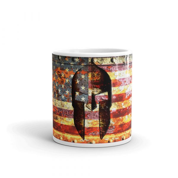 15 oz Mug - American Flag and Spartan Helmet on Rust