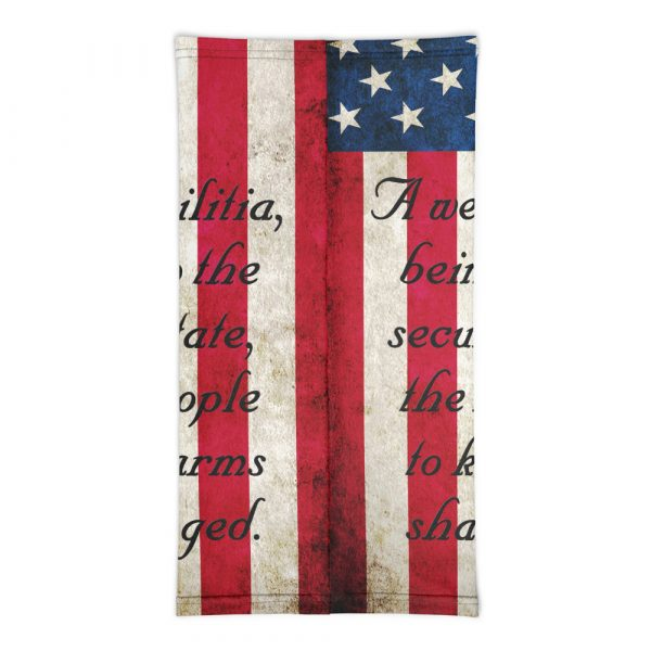 American Flag with 2nd Amendment Neck Gaiter back view